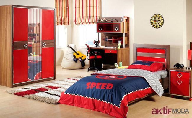 Çilek Kırmızı Genç Odası Modeli