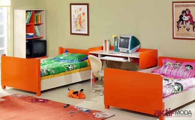 Çilek Turuncu Genç Odası Modeli