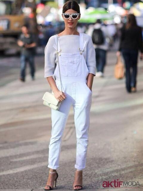 Beyaz Bahçıvan Pantolon Modelleri