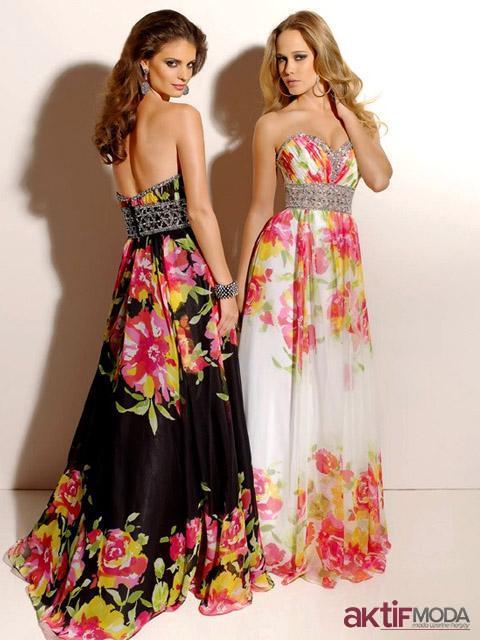 Çiçekli Abiye Kır Düğünü Elbise Modelleri