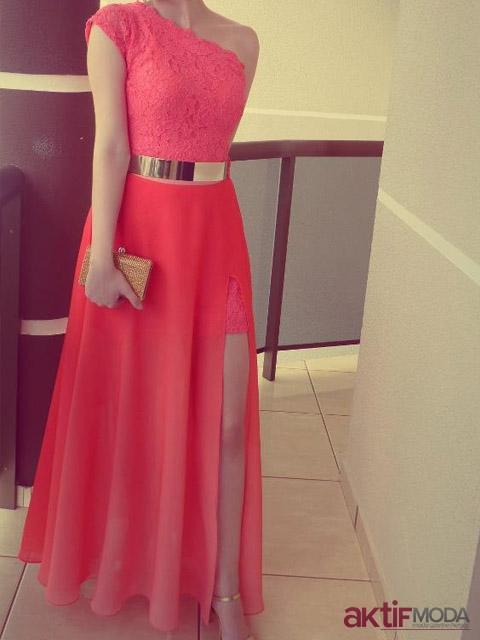 Nar Rengi Kır Düğünü Elbise Modeli