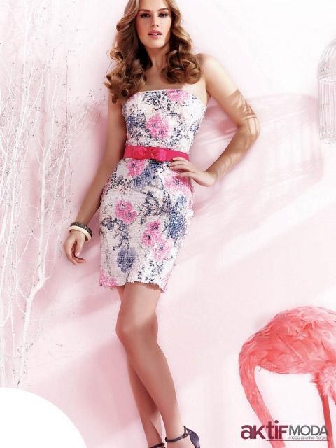 Pembe Çiçekli Kır Düğünü Elbise Modeli