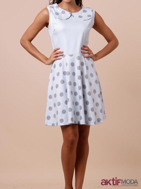 Puantiyeli Kır Düğünü Elbise Modeli