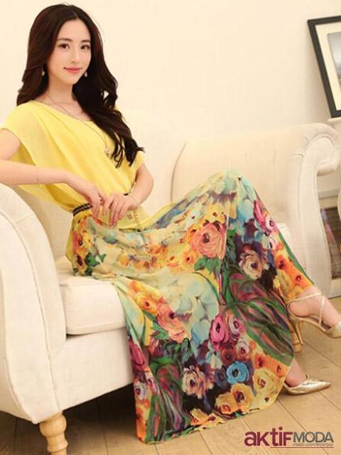 Sarı Çiçekli Kır Düğünü Elbise Modeli