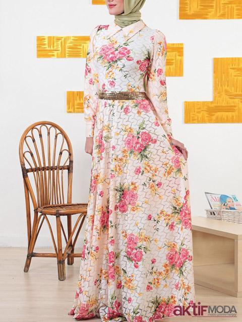 Tesettür Çiçekli Kır Düğünü Elbise Modeli