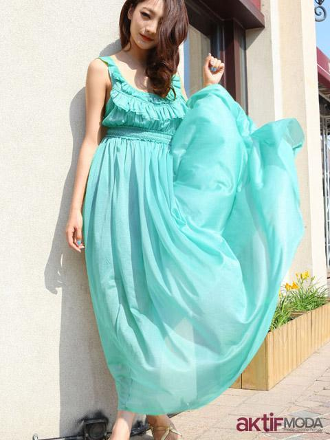 Turkuaz Kır Düğünü Elbise Modeli