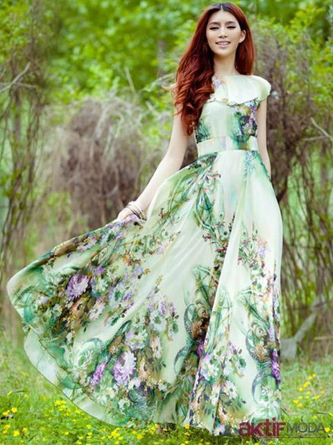 Yeşil Çiçekli Kır Düğünü Elbise Modeli