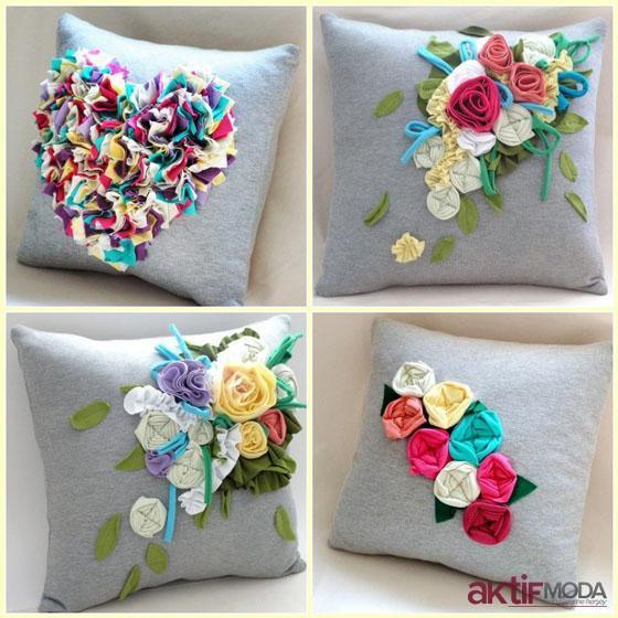 Dekoratif Çiçekli Yastık Modelleri
