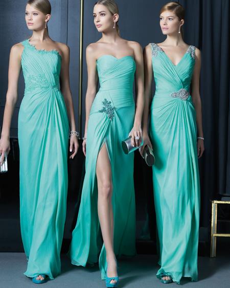 Su Yeşili Gece Elbiseleri