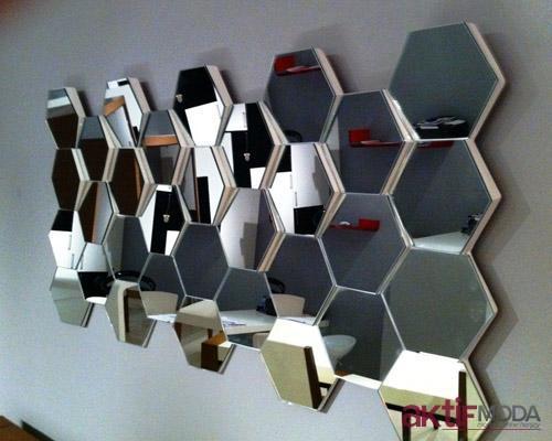 Bal Peteği Dekoratif Ayna Modelleri