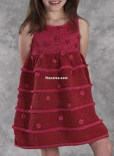 Anlatımlı Kız Çocuk Örgü Elbise