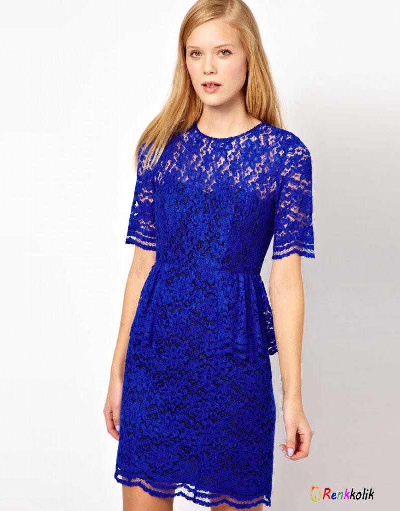 Mavi Dantel Elbise Modelleri