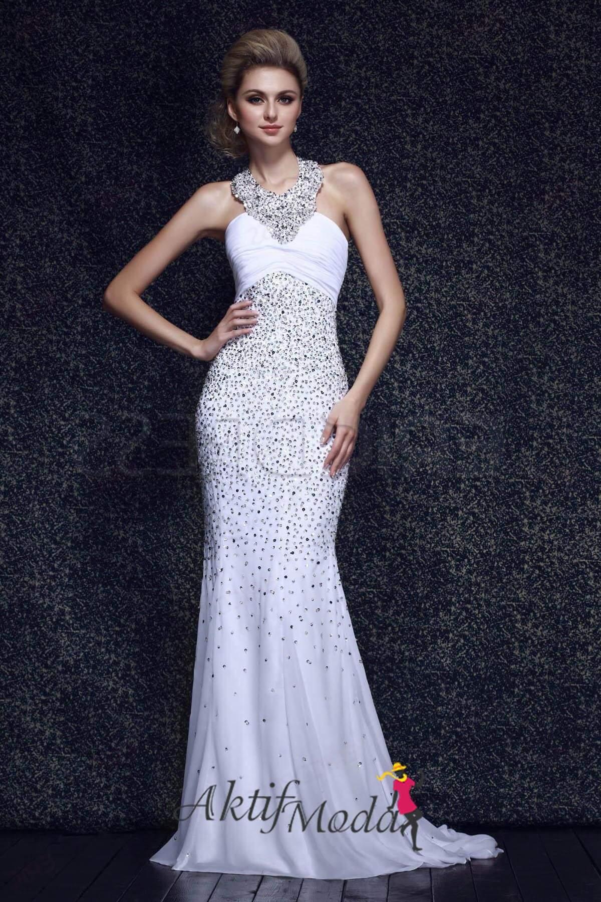 Boyundan Bağlamalı Elbise Modelleri 2019