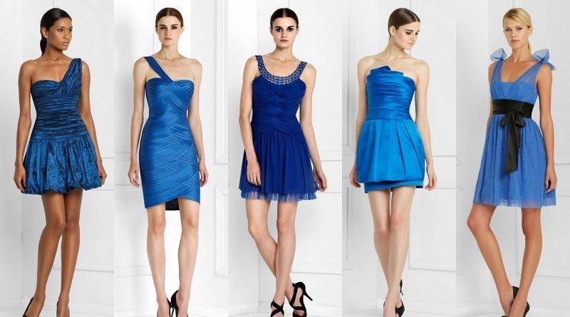 Mavi Kısa Gece Elbiseleri