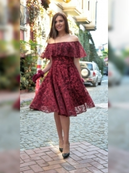 Omuz Detaylı Mezuniyet Elbisesi