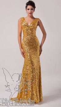 Gold İşlemeli Abiye Elbiseler