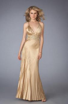Metalik Altın Abiye Elbise