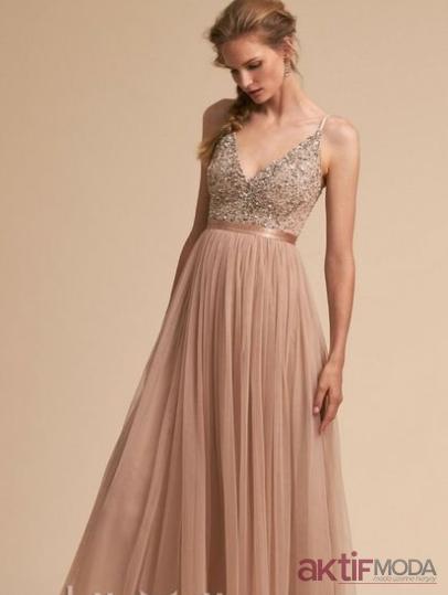 Uzun Pudra Elbise Modelleri