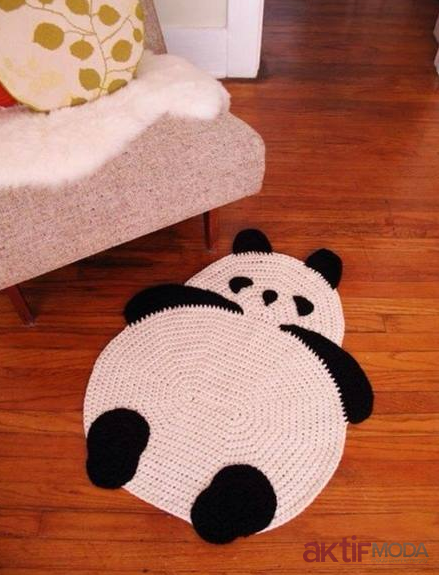 Örgü Panda Paspas Örnekleri