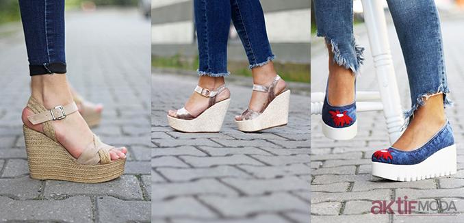 Dolgu Topuklu Ayakkabı Kombinleri