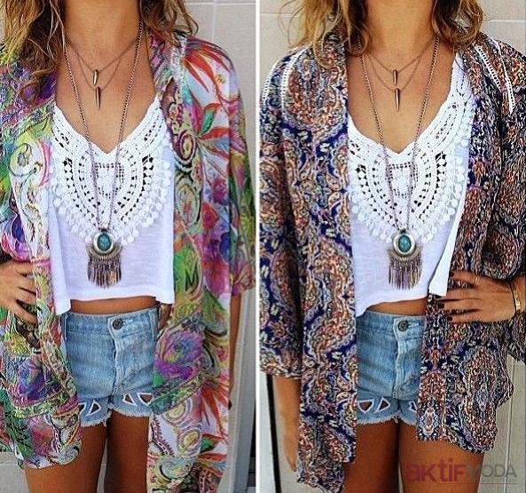 Renkli Kimono Modelleri