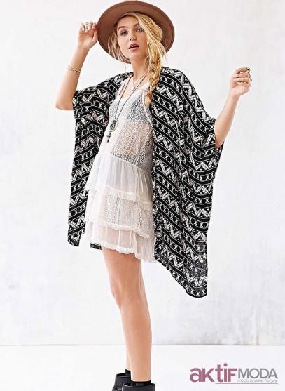Siyah Desenli Kimono