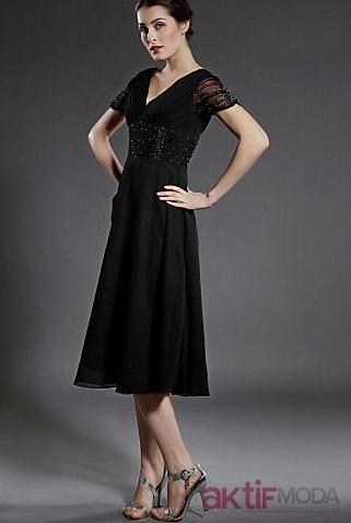 Siyah Yarım Kollu Elbise Abiye