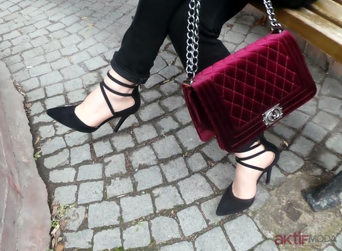 Topuklu Ayakkabı Çanta Kombini