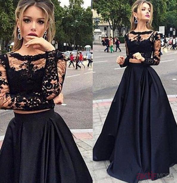 Uzun Siyah Abiye Elbiseler