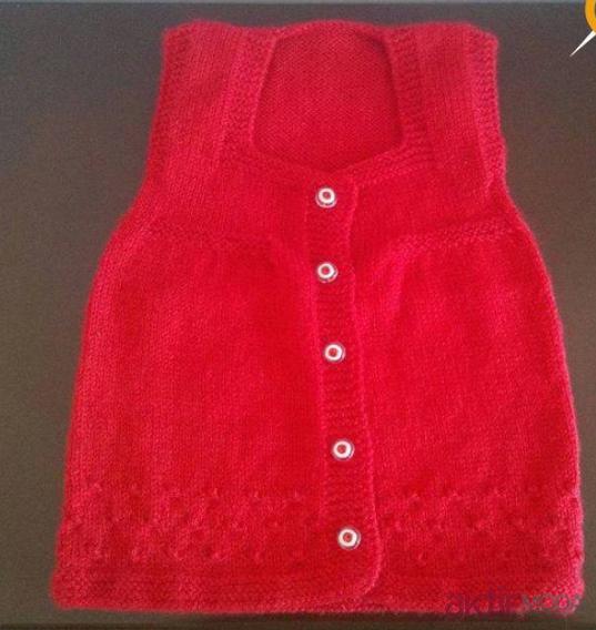 Kırmızı Kız Bebek Yelek Modelleri
