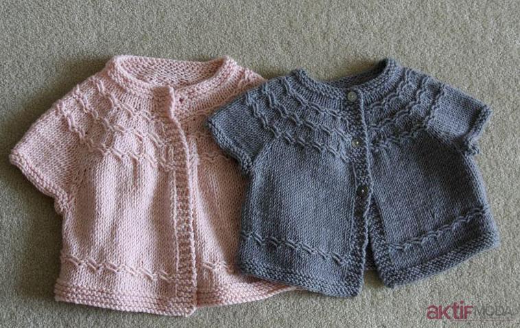 Kız Bebek Örgü Yelek Modelleri