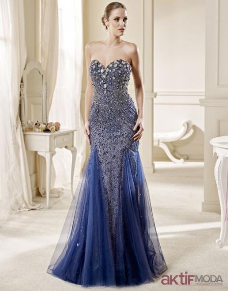 Mavi Abiye Elbise Modelleri
