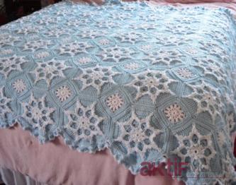 Yatak Örtüsü Kar Tanesi Battaniye Modelleri