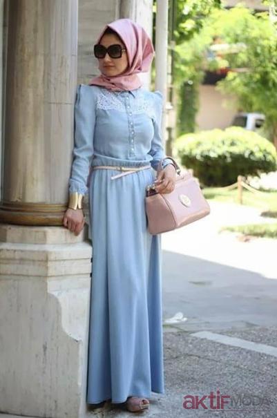 İşlemeli Tesettür Kot Elbise Modelleri