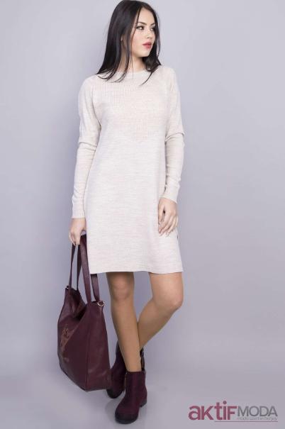 Beyaz Triko Elbise Kombinleri 2019