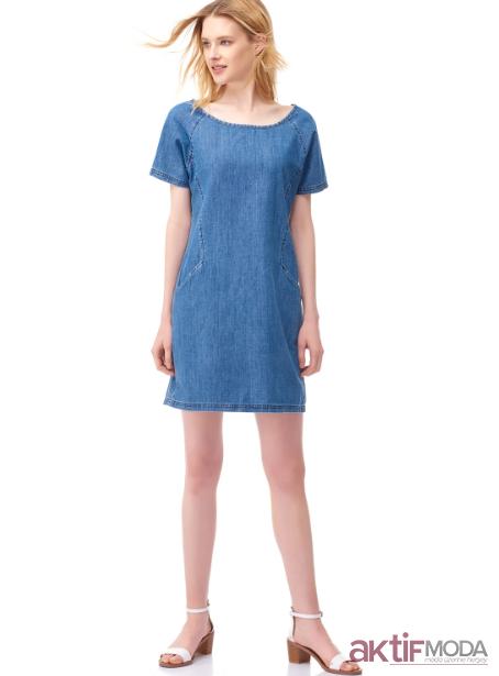 Düz Kot Elbise Modelleri