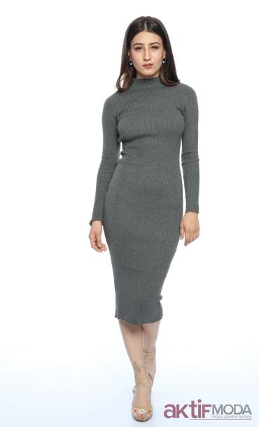 Dar Triko Elbise Modelleri 2019