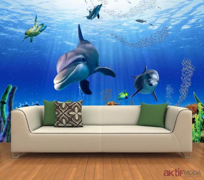Deniz Temalı Üç Boyutlu Duvar Kağıdı