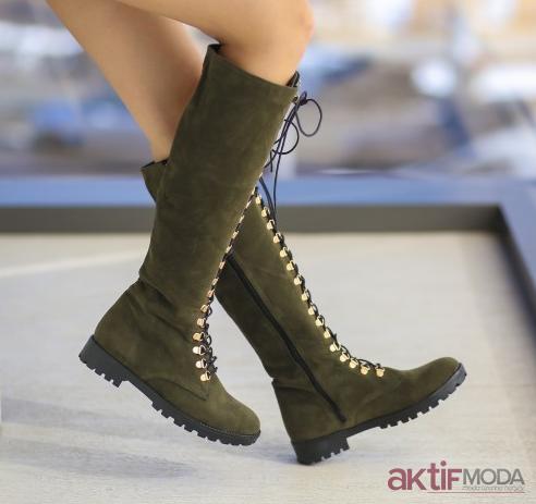 Haki Süet Çizme Modelleri
