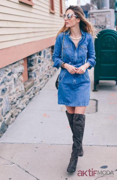 Kış Kot Elbise Kombin Önerileri
