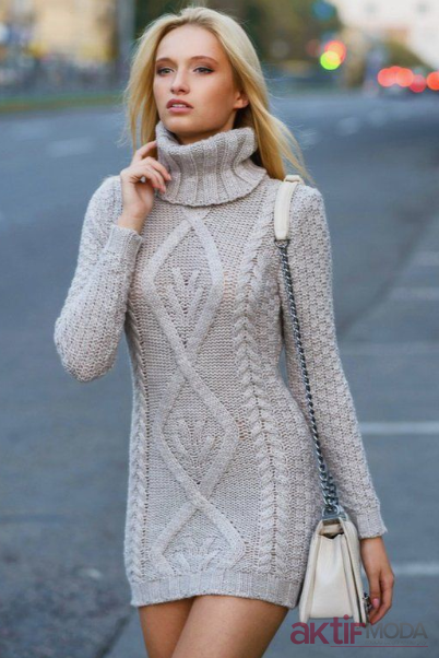 Mini Triko Elbise Modelleri 2019