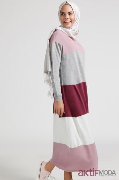 Renkli Tesettür Triko Elbise Modelleri