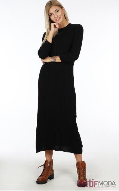 Siyah Triko Elbise Modelleri 2019