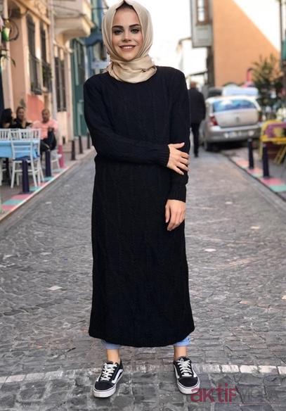 14fce47d1bf92 Tesettür Triko Elbise Kombinleri 2019 - Aktif Moda - Aktif Moda
