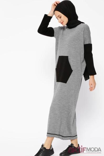 Tesettür Triko Elbise Modelleri 2019