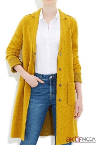 Hardal Sarısı Hırka Modelleri 2019