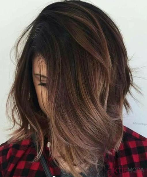 Kahverengi Balyaj Saç Modelleri 2019