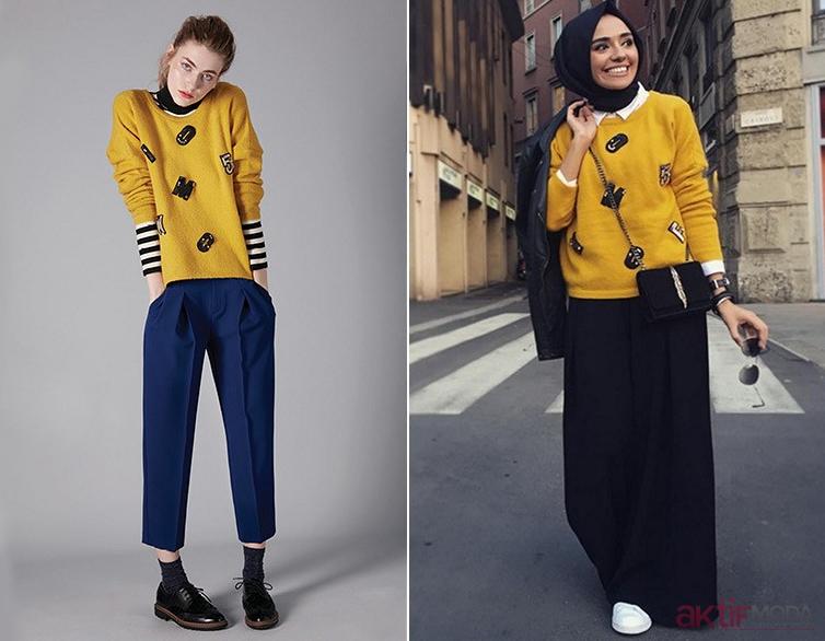 Renkli Triko Kazak Kombin Önerileri