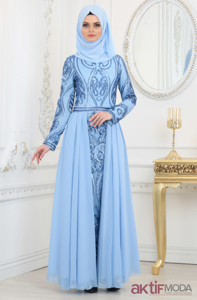 İşlemeli Tesettür Abiye Elbise Modelleri 2019
