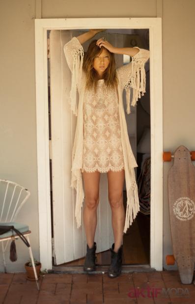2019 Bohem Giyim Tarzı Dantelli Elbise